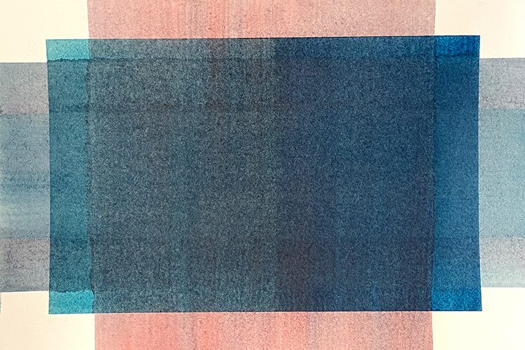 Abstract artwork with a blue rectangle.