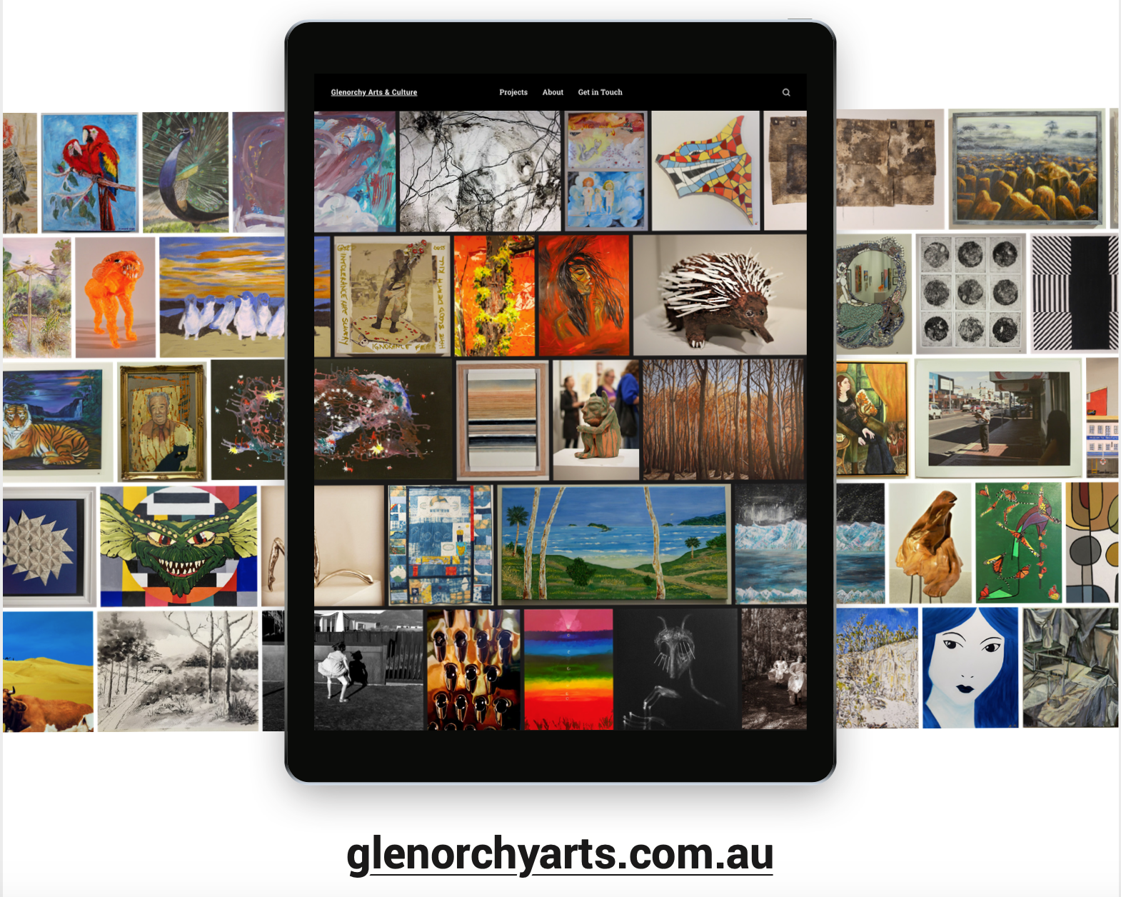 Artworks displayed on a mobile device